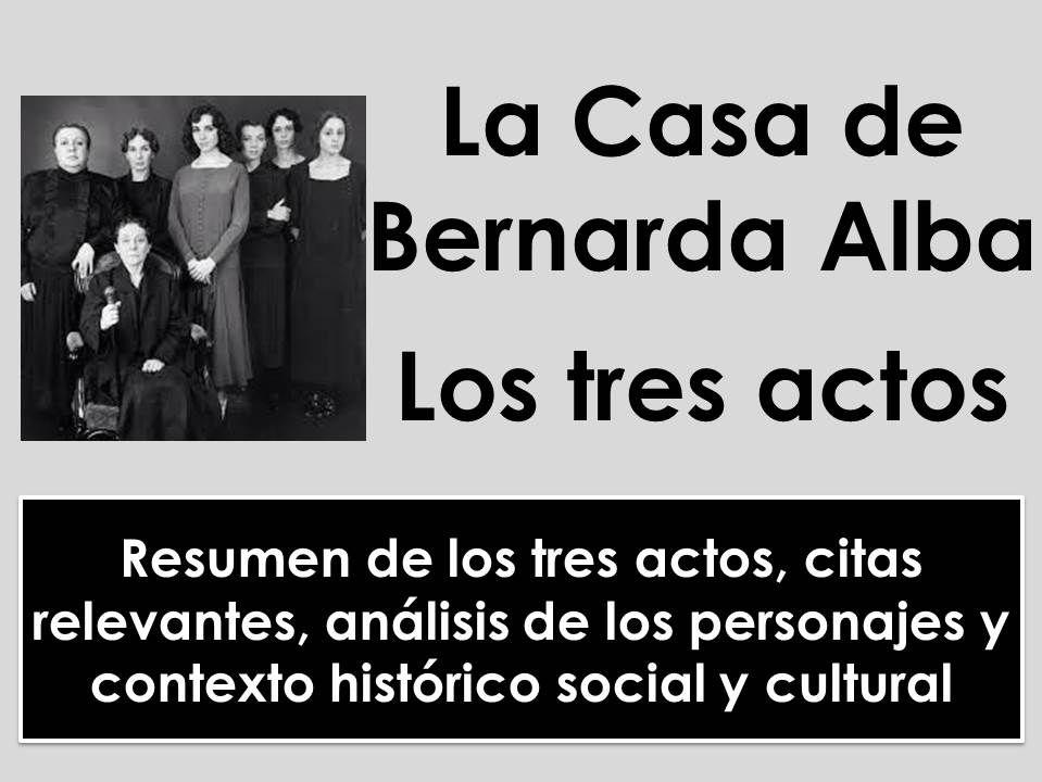 A-level Spanish: La Casa de Bernarda Alba - Análisis de los tres actos, citas, personajes y contexto
