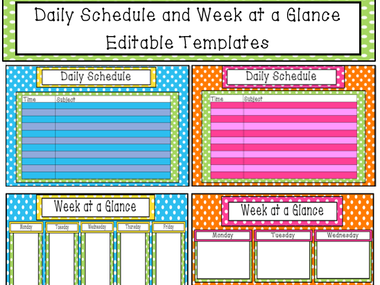 Daily Schedule and Week at a Glance Templates