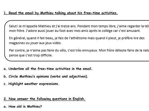 French activities on hobbies