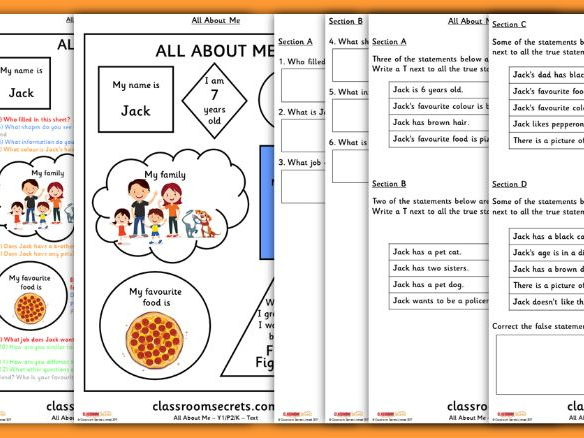 Year 1 Back to School Whole Class Guided Reading Comprehension All About Me