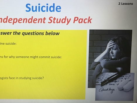 Year 13 Suicide and Deviance Independent Learning Pack