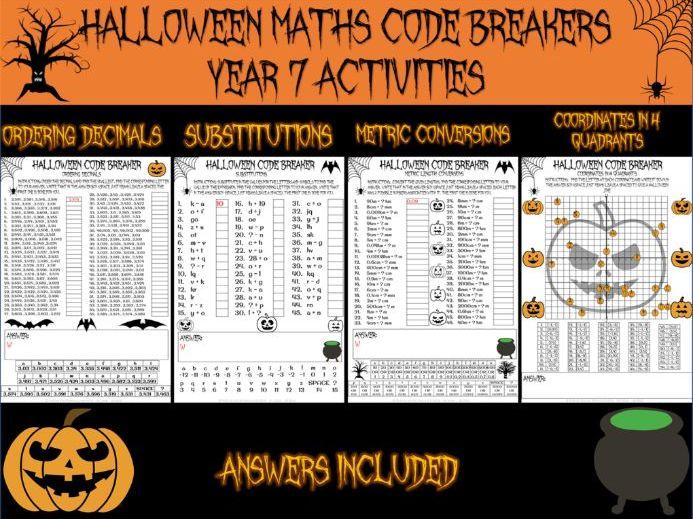Halloween maths - Year 7 code breakers