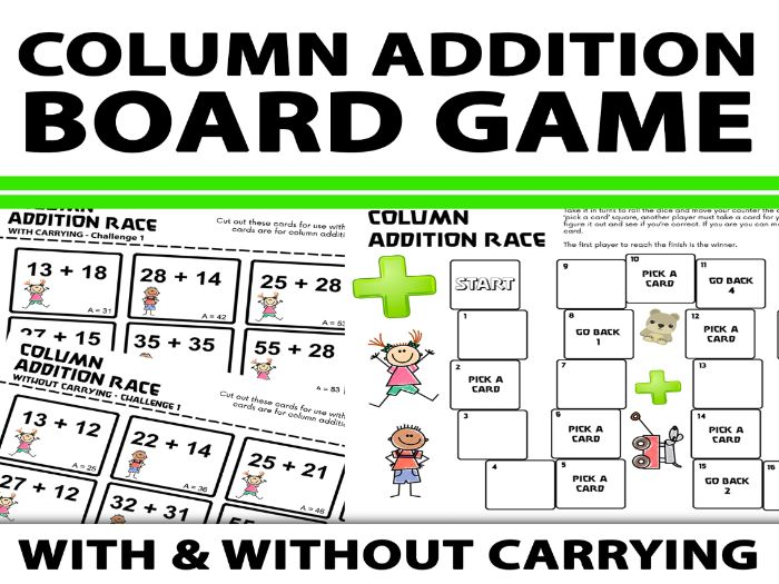 Column Addition Board Game With and Without Carrying