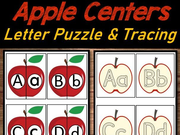 Apple Literacy Center   Letter Match Puzzle & Alphabet/Tracing for September