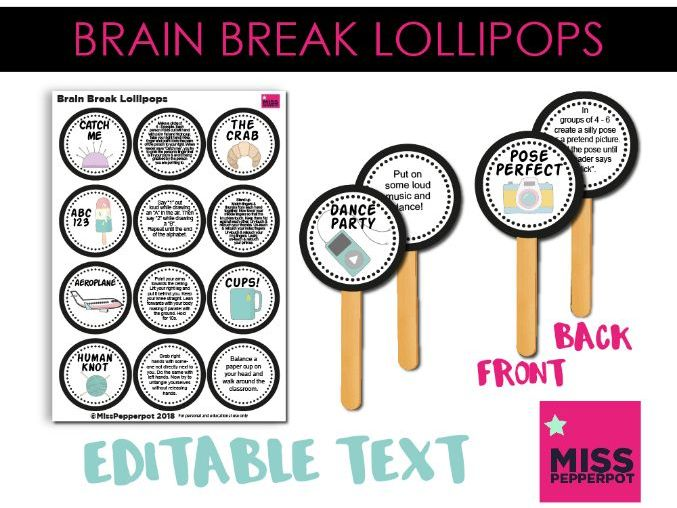 Brain Breaks, Brain Break Ideas, Brain Break Resource, Brain Break Lollipops