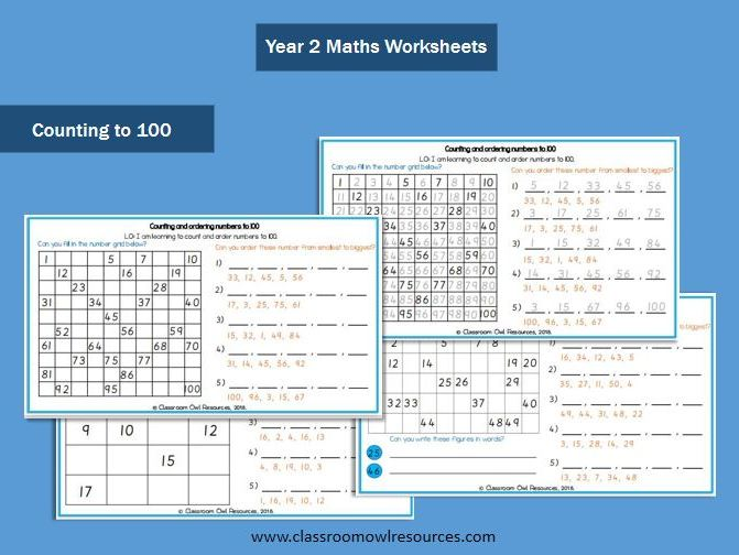 Year 2: Count and Order numbers to 20,50 & 100 (differentiated worksheets)
