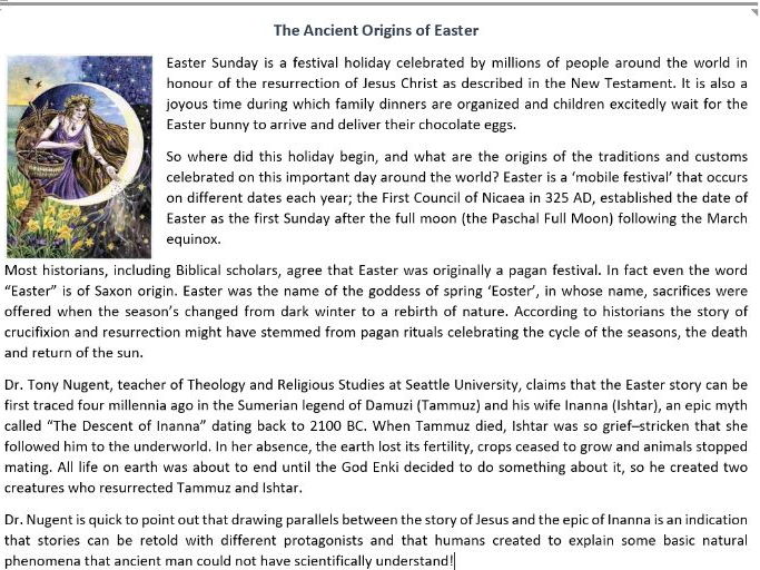 Reading comprehension 60 off with code superseptember teaching the ancient origins of easter reading comprehension worksheet ibookread PDF