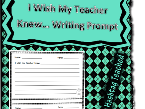 I Wish My Teacher Knew Writing Prompt Template