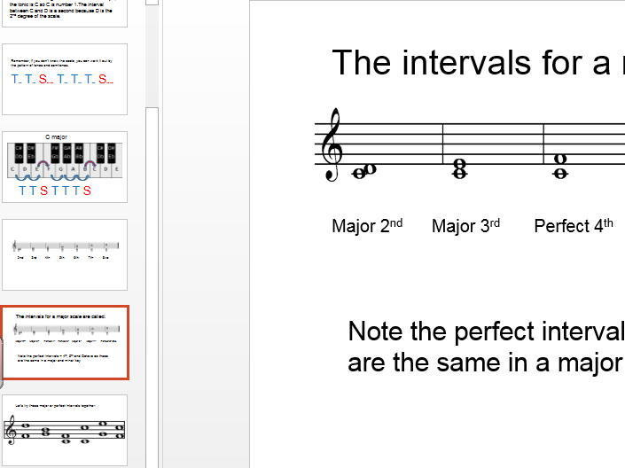 Musical intervals 2 - Major and Perfect
