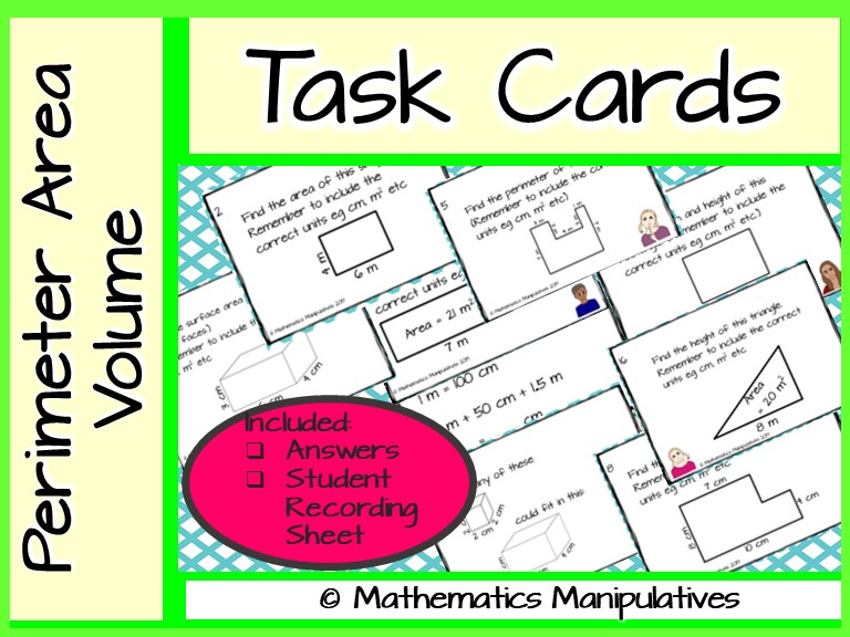 Task Cards Perimeter Area Volume