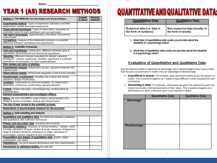 Research Methods (Year 1/AS) Booklet