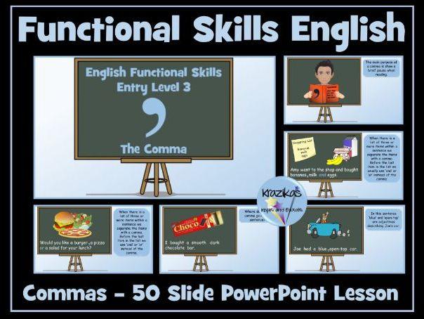 Functional Skills English - Entry Level 3 - Punctuation -  Using Commas