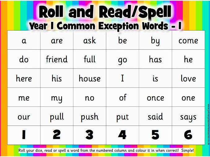 Roll and Read/Spell - Year 1 Common Exception Words