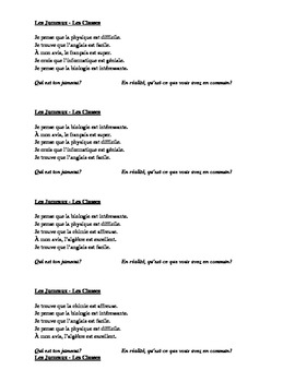 Classes and Opinions in French Jumeaux Speaking activity