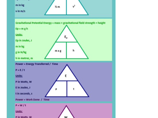 NEW AQA PHYSICS 2018 ENERGY-EQUATIONS --BOOKMARKS-WITH-TRIANGLES-AND-BLANK-TRIANGLES ACTIVITY