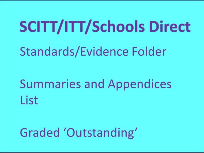 SCITT ITT Schools Direct Standards/Evidence Folder Guidance Summaries Appendices List