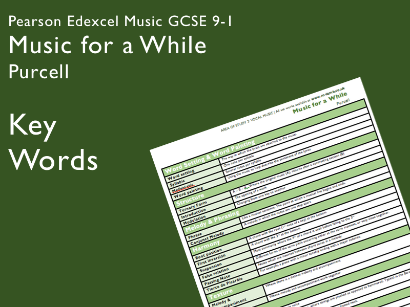 Purcell - Music for a While | Edexcel Pearson GCSE Music 9-1 | Key Words