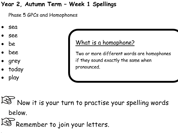 No Nonsense Spellings - Year 2 - Autumn Term - Weeks 1-6  Lesson Resources Bundle