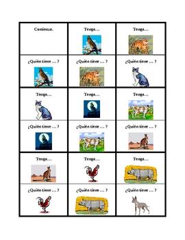 Animales (Animals in Spanish) Tengo Quién tiene