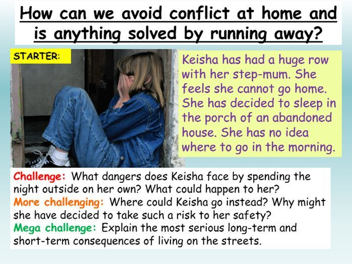 Domestic conflict , abuse + running away PSHE