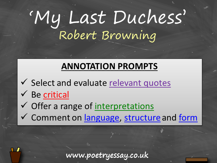 Robert Browning – 'My Last Duchess' – Annotation / Planning Table / Questions / Booklet