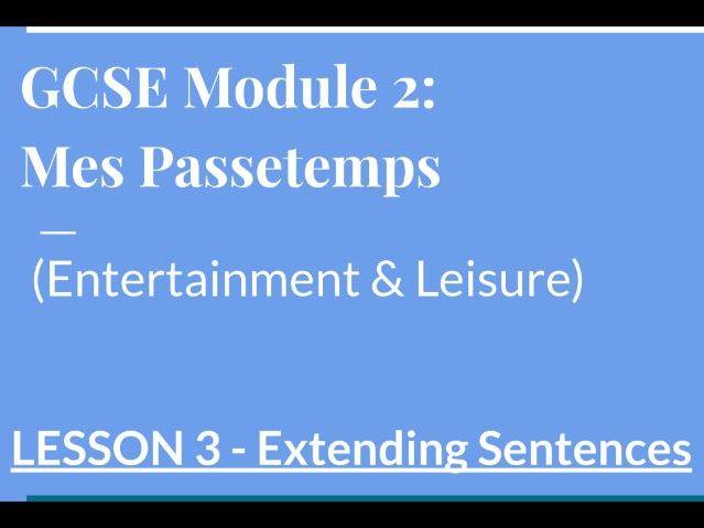 Les Sports - GCSE Lockdown Lesson Extending Sentences