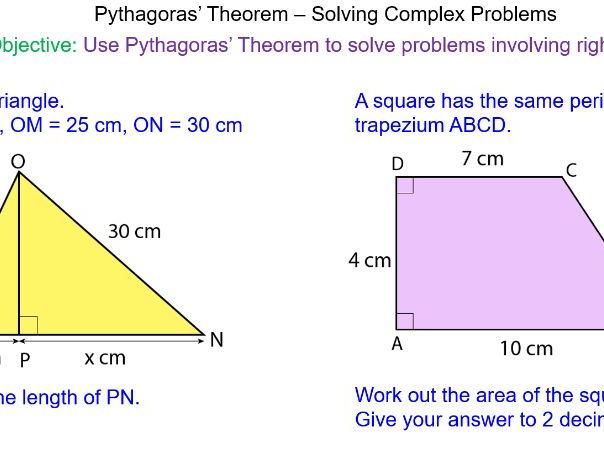 Pythagoras' Theorem - Solving Complex Problems