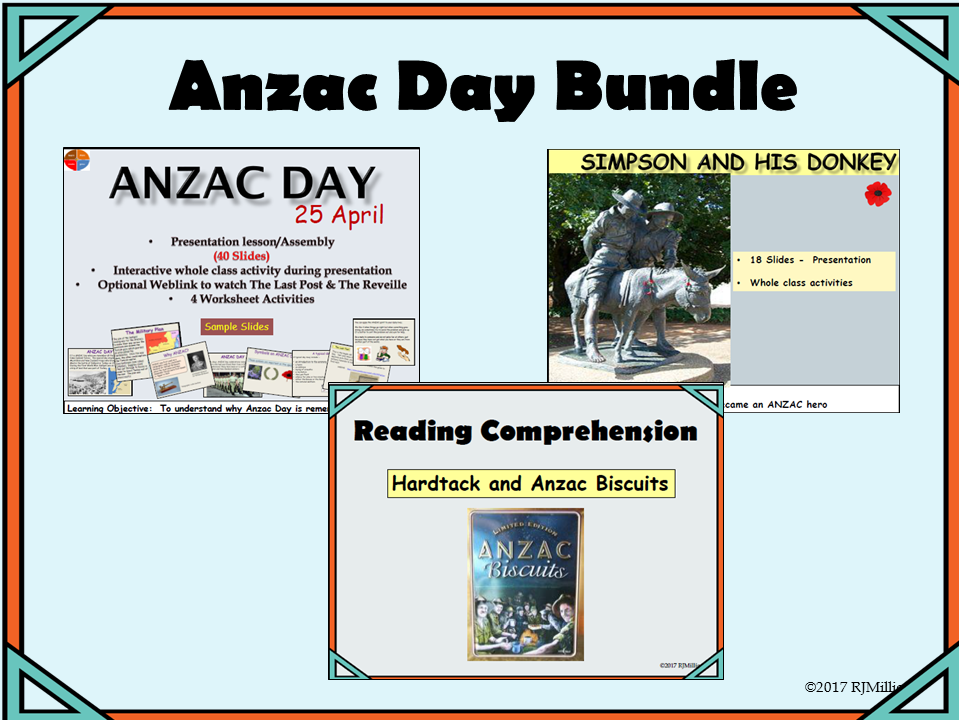 Anzac Day, Simpson and his Donkey, Anzac Biscuits  Presentations, Worksheets Bundle