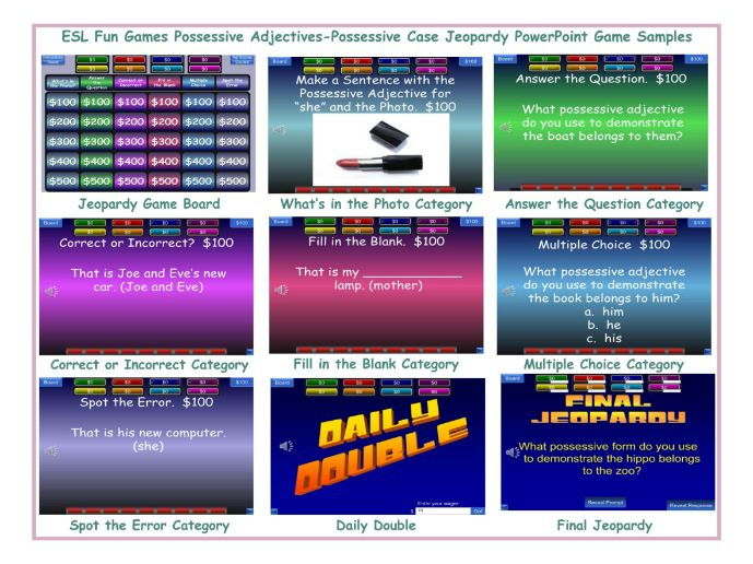 Possessive Adjectives-Possessive Case Jeopardy PowerPoint Game