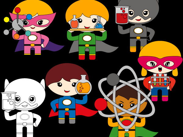 Science superhero clip art - boys and girls in science lab clipart