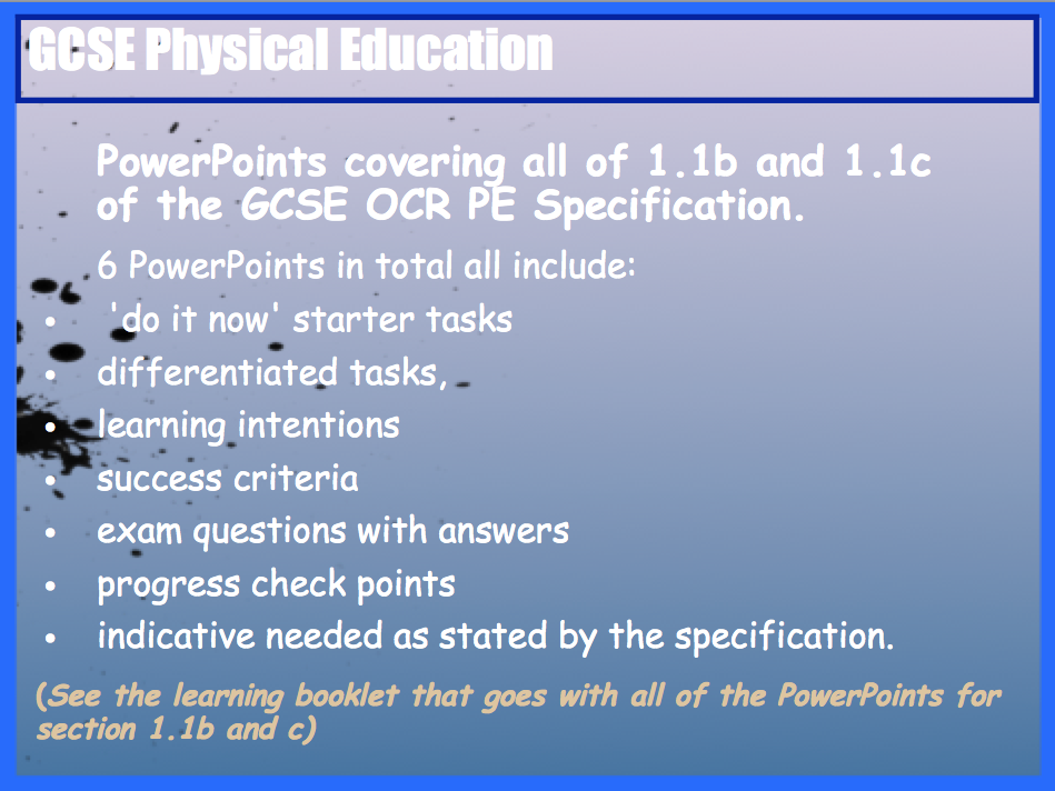 GCSE OCR PE Muscular System (1.1b)  and Movement Analysis (1.1c) PowerPoints.
