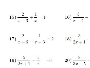 Solving equations with algebraic fractions worksheets (with solutions)