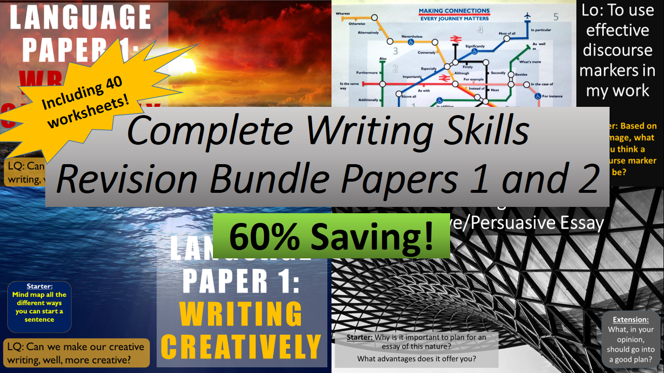 AQA English Paper 1 and 2 Writing Skills complete schemes of work and 40x worksheets. Perfect for revision. Massive savings!