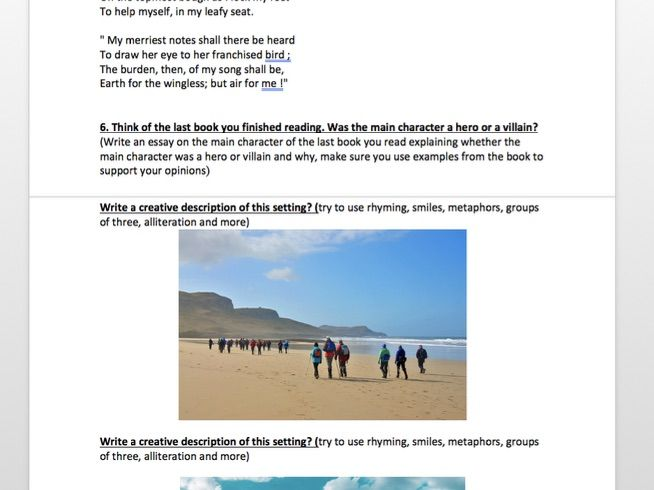 English Activity Worksheet - Inc story, poetry, creative writing  questions
