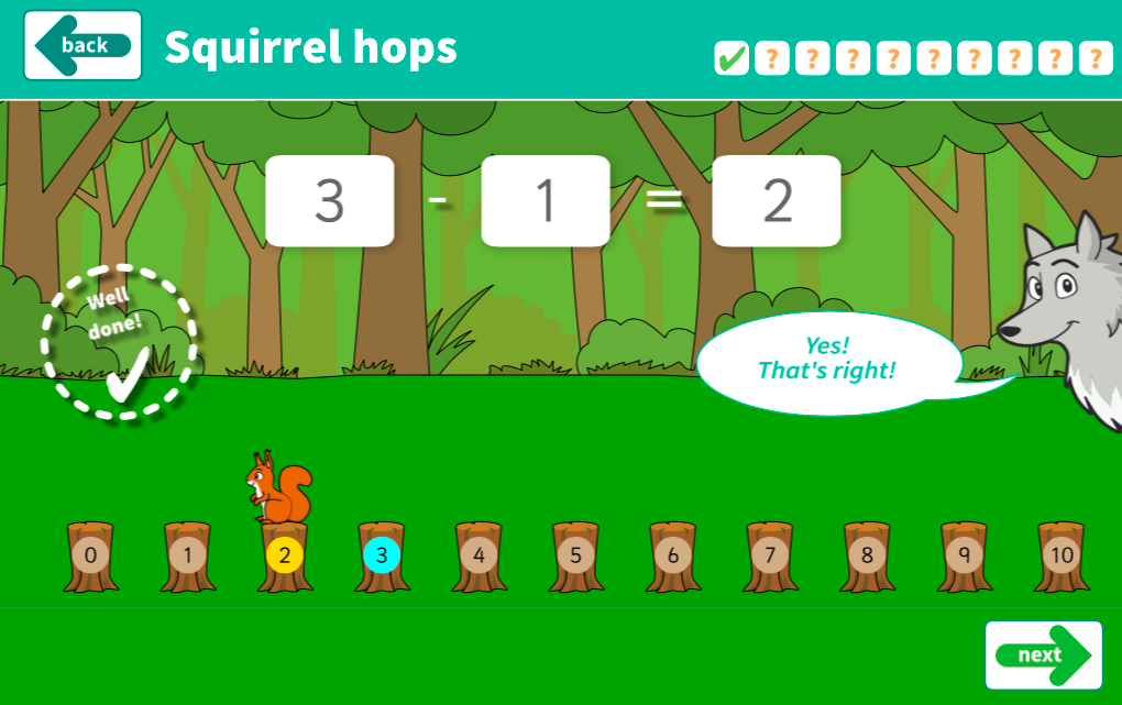 Subtraction to 10 - Squirrel Hop Interactive Game - KS1 Number