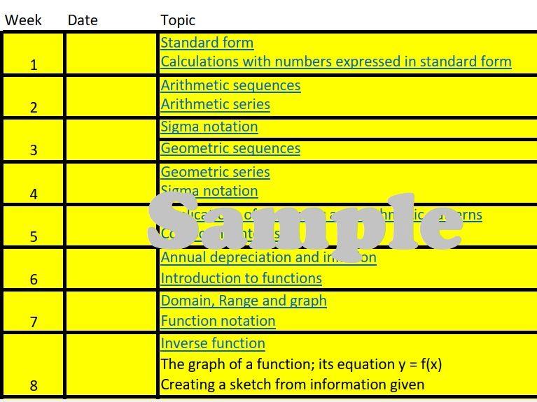 Scheme of Work - IB Mathematics - Applications and interpretation - SL