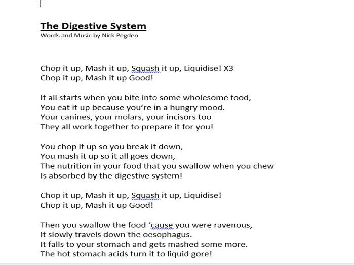 The Digestive System, a lower KS2 song