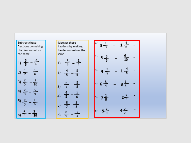 Adding and Subtracting fractions year 6 four lessons