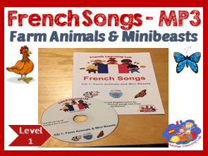 French Immersion - 11 Farm Animals & Minibeasts Songs MP3 & Song Booklet