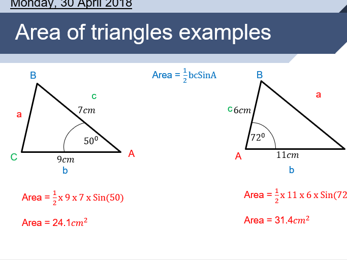 Area of triangles, further trigonometry lesson