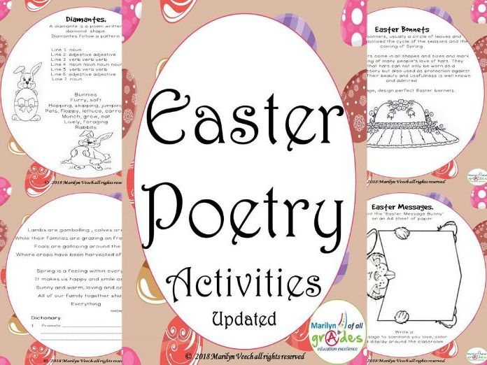 Easter Poetry Worksheets, Activities, Original Poems. (Updated)