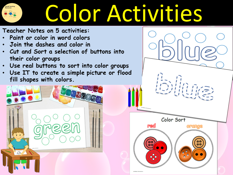 Colors Activities/Tasks and Sorting into Color Groups,  Cut/Paste  - PreK/Kindergarten