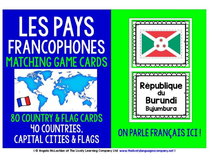 FRENCH-SPEAKING COUNTRIES, CAPITAL CITIES & FLAGS 80 GAME CARDS
