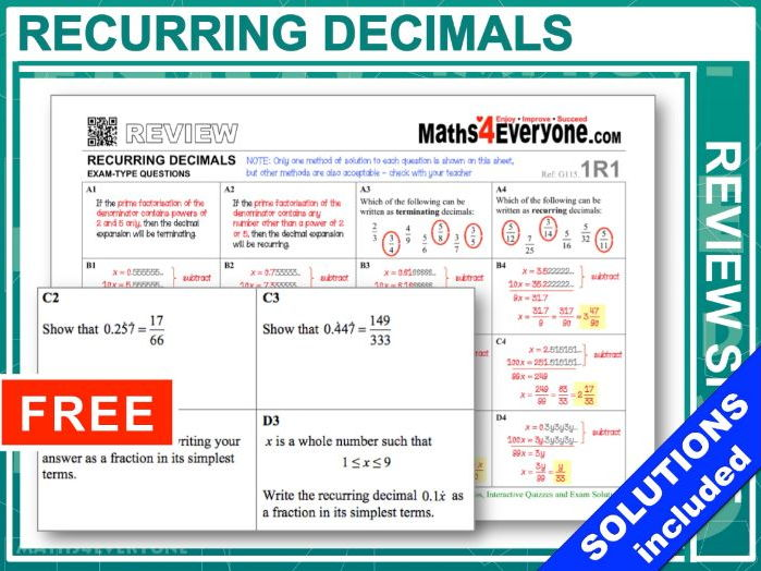 Recurring Decimals (GCSE Topic Review)