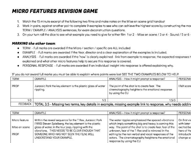Textual Analysis MICRO FEATURES Deconstructing moving image - film, TV, Music Video  - REVISION GAME