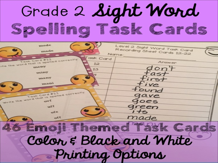 Second Grade Sight Word Spelling Emoji Task Cards
