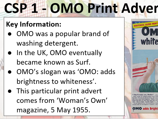 AQA Media Studies CSP (OMO Advertisement)