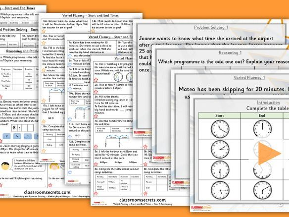 Year 3 Start and End Times Summer Block 3 Step 9 Lesson Pack