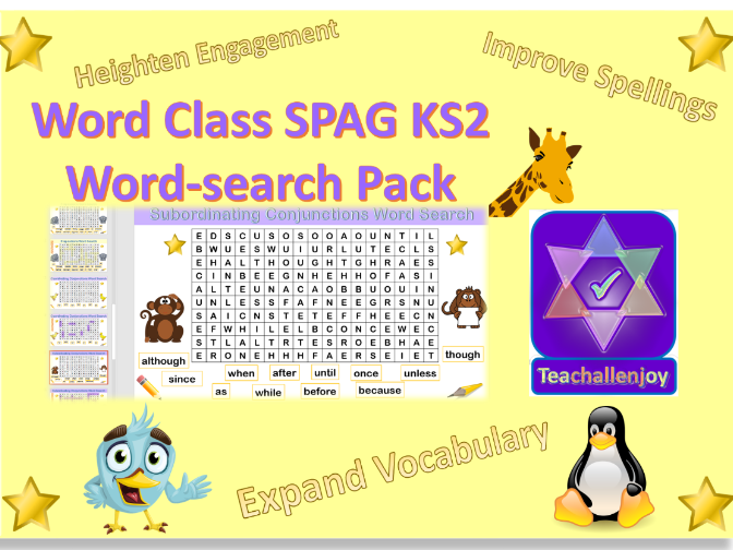 Word Class KS2 SPAG Word Search Pack