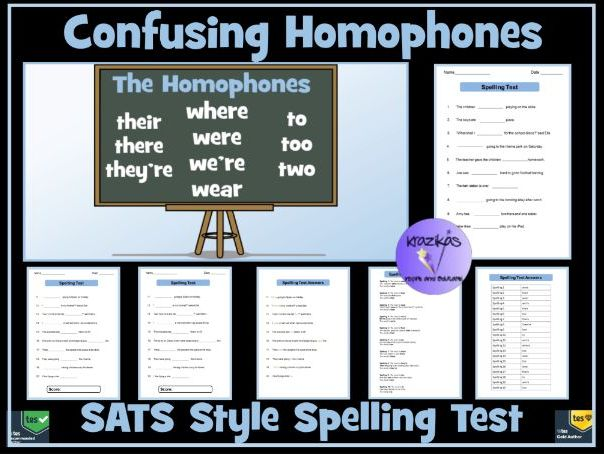 Confusing Homophones: SATS Style Spelling Test - Where/Were/Wear/Too/Two/ To/There/They're/Their
